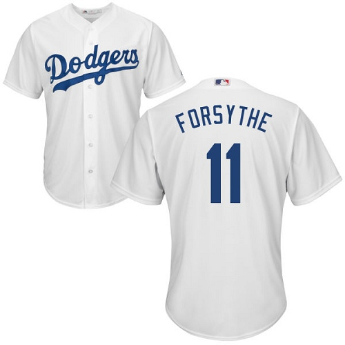 Men's Majestic Los Angeles Dodgers #11 Logan Forsythe Replica White Home Cool Base MLB Jersey