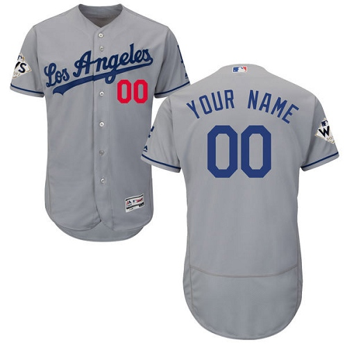 Men's Majestic Los Angeles Dodgers Customized Authentic Grey Road 2017 World Series Bound Flex Base MLB Jersey