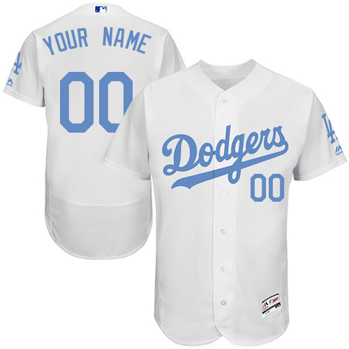 Men's Majestic Los Angeles Dodgers Customized Authentic White 2016 Father's Day Fashion Flex Base MLB Jersey