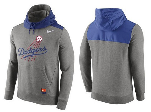 MLB Men's Los Angeles Dodgers Nike Gray Cooperstown Collection Hybrid Pullover Hoodie