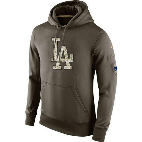 MLB Men's Los Angeles Dodgers Nike Olive Salute To Service KO Performance Hoodie