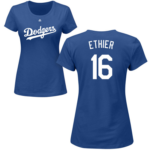 MLB Women's Nike Los Angeles Dodgers #16 Andre Ethier Royal Blue Name & Number T-Shirt