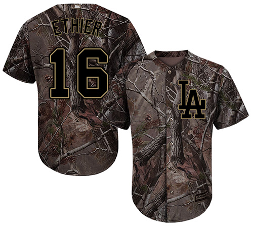 Men's Majestic Los Angeles Dodgers #16 Andre Ethier Authentic Camo Realtree Collection Flex Base MLB Jersey