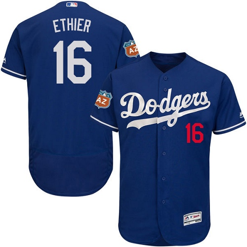 Men's Majestic Los Angeles Dodgers #16 Andre Ethier Authentic Royal Blue Alternate Cool Base MLB Jersey