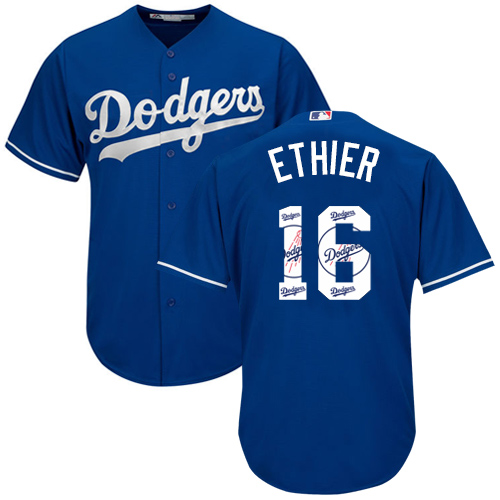 Men's Majestic Los Angeles Dodgers #16 Andre Ethier Authentic Royal Blue Team Logo Fashion Cool Base MLB Jersey