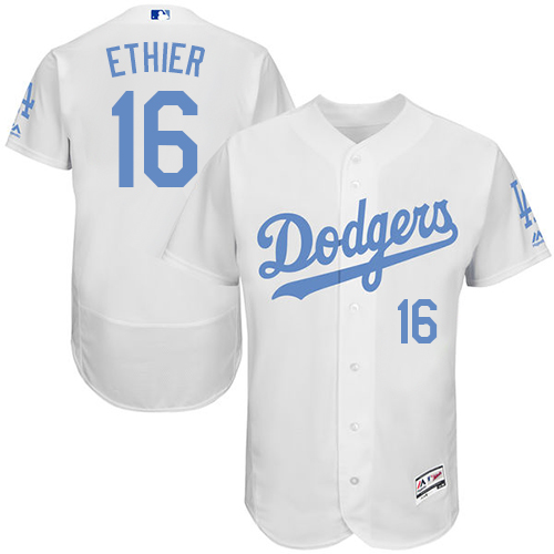 Men's Majestic Los Angeles Dodgers #16 Andre Ethier Authentic White 2016 Father's Day Fashion Flex Base MLB Jersey