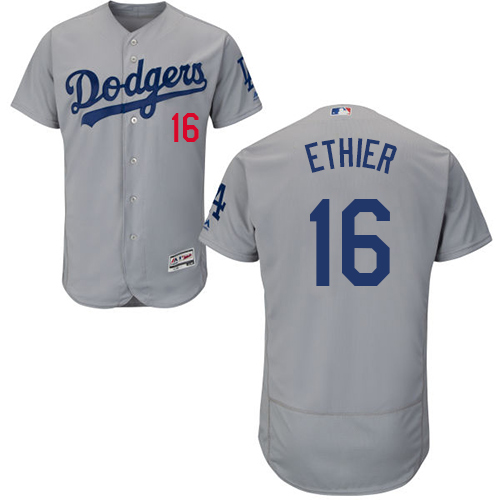 Men's Majestic Los Angeles Dodgers #16 Andre Ethier Gray Alternate Road Flexbase Authentic Collection MLB Jersey