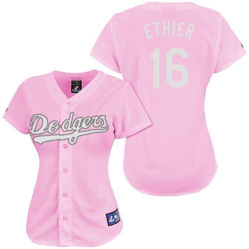 Women's Majestic Los Angeles Dodgers #16 Andre Ethier Authentic Pink Fashion MLB Jersey