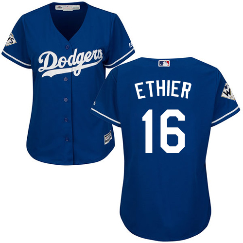Women's Majestic Los Angeles Dodgers #16 Andre Ethier Authentic Royal Blue Alternate 2017 World Series Bound Cool Base MLB Jersey