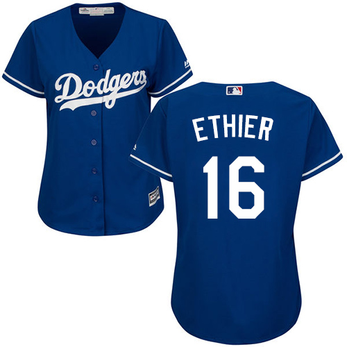 Women's Majestic Los Angeles Dodgers #16 Andre Ethier Authentic Royal Blue MLB Jersey