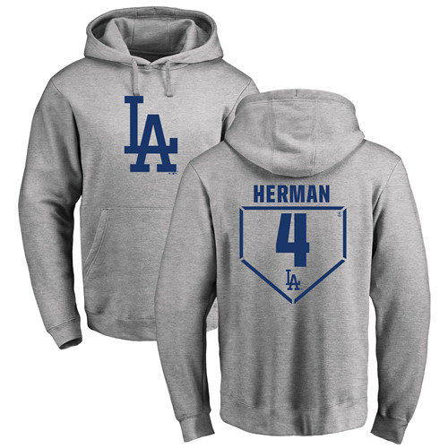 MLB Nike Los Angeles Dodgers #4 Babe Herman Gray RBI Pullover Hoodie
