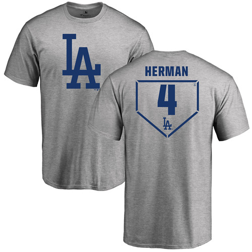 MLB Nike Los Angeles Dodgers #4 Babe Herman Gray RBI T-Shirt