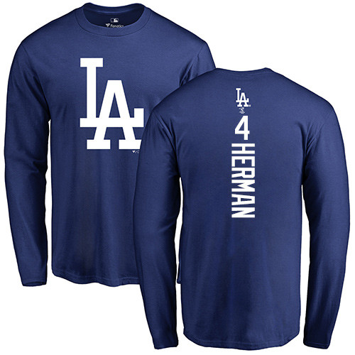 MLB Nike Los Angeles Dodgers #4 Babe Herman Royal Blue Backer Long Sleeve T-Shirt