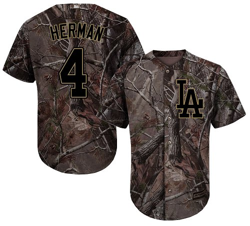 Men's Majestic Los Angeles Dodgers #4 Babe Herman Authentic Camo Realtree Collection Flex Base MLB Jersey