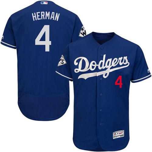 Men's Majestic Los Angeles Dodgers #4 Babe Herman Authentic Royal Blue Alternate 2017 World Series Bound Flex Base MLB Jersey