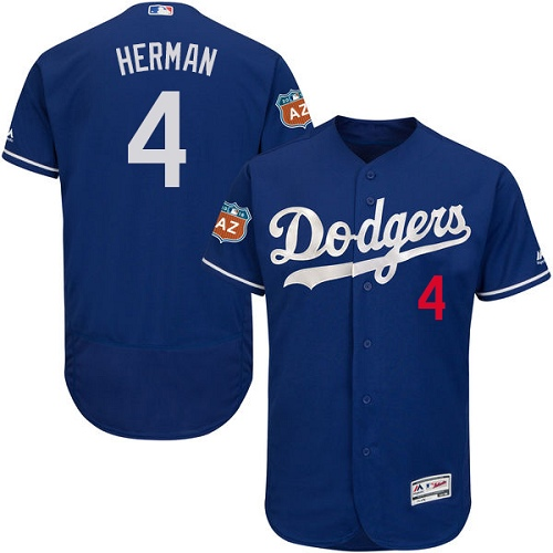 Men's Majestic Los Angeles Dodgers #4 Babe Herman Authentic Royal Blue Alternate Cool Base MLB Jersey