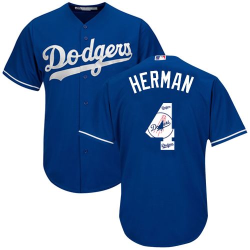 Men's Majestic Los Angeles Dodgers #4 Babe Herman Authentic Royal Blue Team Logo Fashion Cool Base MLB Jersey