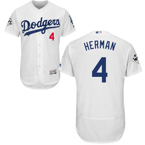 Men's Majestic Los Angeles Dodgers #4 Babe Herman Authentic White Home 2017 World Series Bound Flex Base MLB Jersey