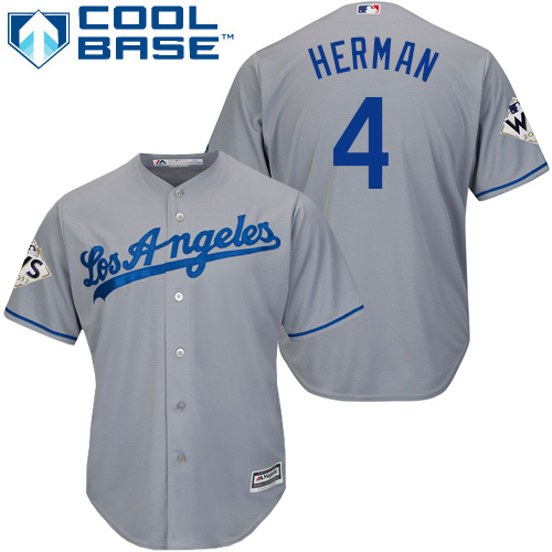 Men's Majestic Los Angeles Dodgers #4 Babe Herman Replica Grey Road 2017 World Series Bound Cool Base MLB Jersey