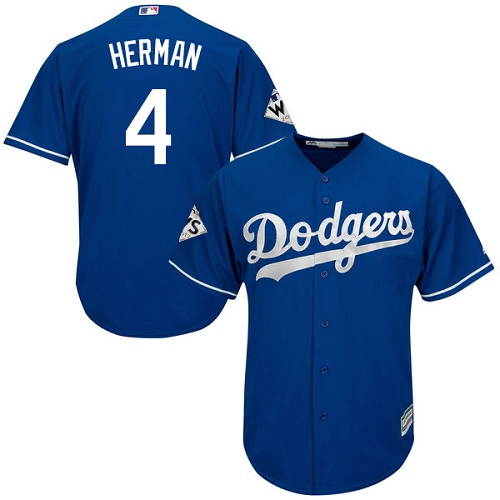 Men's Majestic Los Angeles Dodgers #4 Babe Herman Replica Royal Blue Alternate 2017 World Series Bound Cool Base MLB Jersey