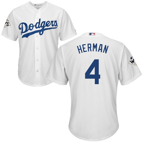 Men's Majestic Los Angeles Dodgers #4 Babe Herman Replica White Home 2017 World Series Bound Cool Base MLB Jersey