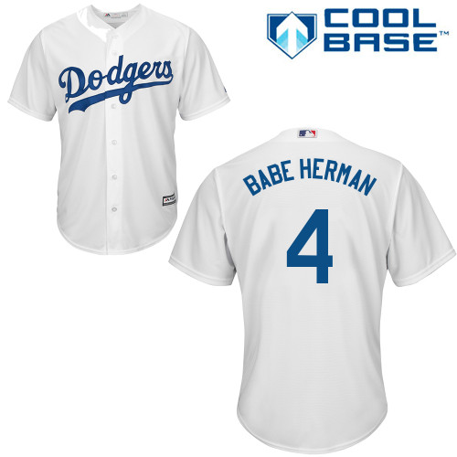 Men's Majestic Los Angeles Dodgers #4 Babe Herman Replica White Home Cool Base MLB Jersey