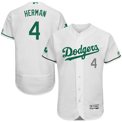 Men's Majestic Los Angeles Dodgers #4 Babe Herman White Celtic Flexbase Authentic Collection MLB Jersey