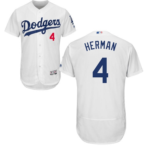 Men's Majestic Los Angeles Dodgers #4 Babe Herman White Home Flex Base Authentic Collection MLB Jersey