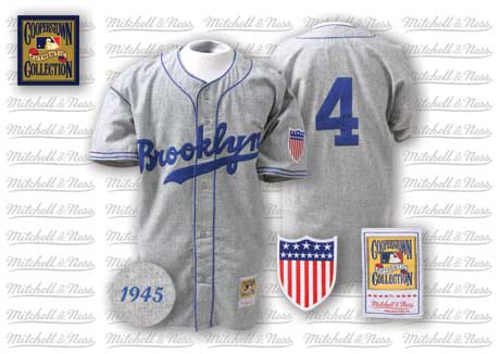Men's Mitchell and Ness 1945 Los Angeles Dodgers #4 Babe Herman Replica Grey Throwback MLB Jersey