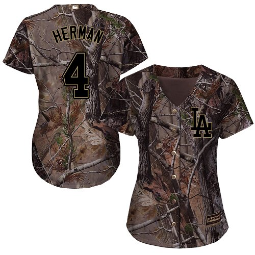 Women's Majestic Los Angeles Dodgers #4 Babe Herman Authentic Camo Realtree Collection Flex Base MLB Jersey