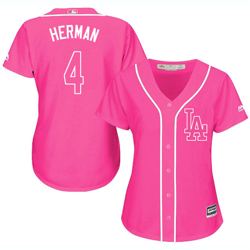 Women's Majestic Los Angeles Dodgers #4 Babe Herman Authentic Pink Fashion Cool Base MLB Jersey