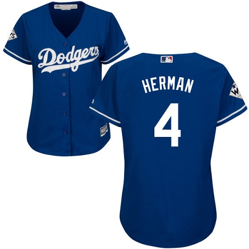 Women's Majestic Los Angeles Dodgers #4 Babe Herman Authentic Royal Blue Alternate 2017 World Series Bound Cool Base MLB Jersey