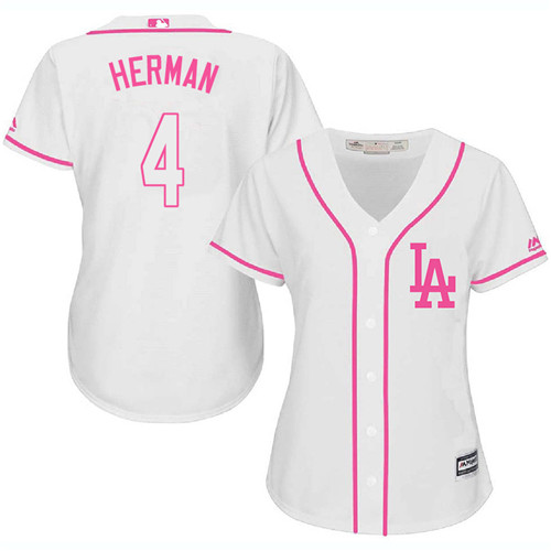 Women's Majestic Los Angeles Dodgers #4 Babe Herman Authentic White Fashion Cool Base MLB Jersey