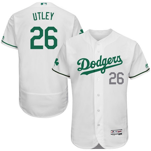 Men's Majestic Los Angeles Dodgers #26 Chase Utley White Celtic Flexbase Authentic Collection MLB Jersey