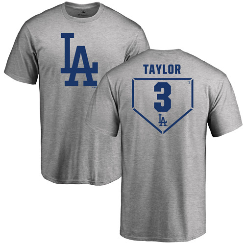 MLB Nike Los Angeles Dodgers #3 Chris Taylor Gray RBI T-Shirt