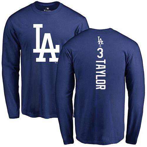 MLB Nike Los Angeles Dodgers #3 Chris Taylor Royal Blue Backer Long Sleeve T-Shirt