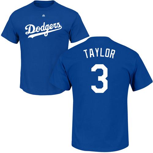 MLB Nike Los Angeles Dodgers #3 Chris Taylor Royal Blue Name & Number T-Shirt
