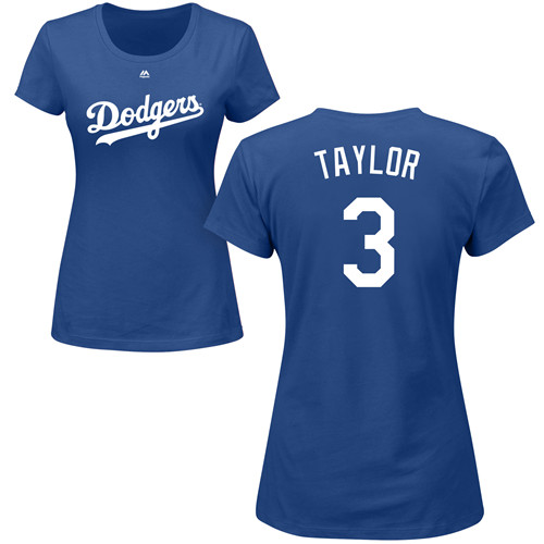 MLB Women's Nike Los Angeles Dodgers #3 Chris Taylor Royal Blue Name & Number T-Shirt