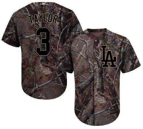 904195e39af Men s Majestic Los Angeles Dodgers  3 Chris Taylor Authentic Camo Realtree Collection  Flex Base MLB