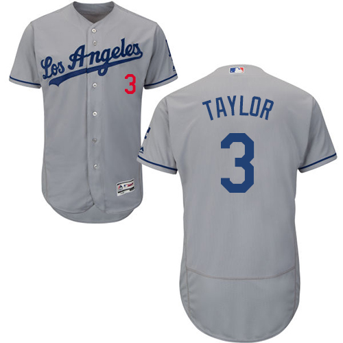 Men's Majestic Los Angeles Dodgers #3 Chris Taylor Grey Flexbase Authentic Collection MLB Jersey