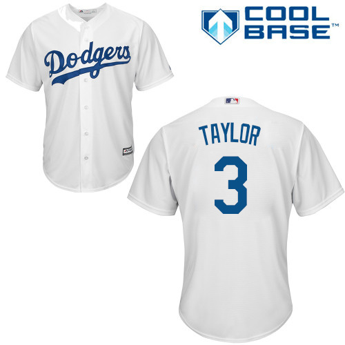 Men's Majestic Los Angeles Dodgers #3 Chris Taylor Replica White Home Cool Base MLB Jersey