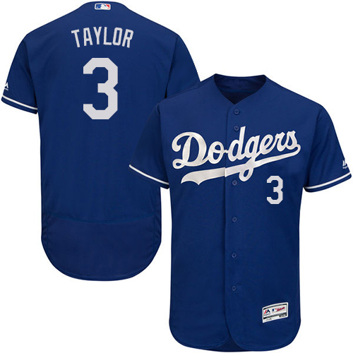 Men's Majestic Los Angeles Dodgers #3 Chris Taylor Royal Blue Alternate Flex Base Authentic Collection MLB Jersey