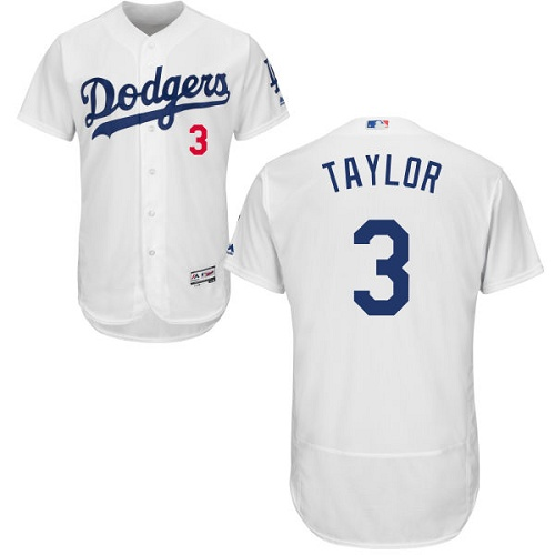 Men's Majestic Los Angeles Dodgers #3 Chris Taylor White Flexbase Authentic Collection MLB Jersey