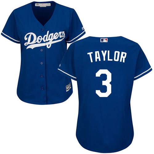Women's Majestic Los Angeles Dodgers #3 Chris Taylor Authentic Royal Blue Alternate Cool Base MLB Jersey