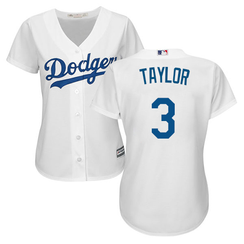 Women's Majestic Los Angeles Dodgers #3 Chris Taylor Authentic White Home Cool Base MLB Jersey