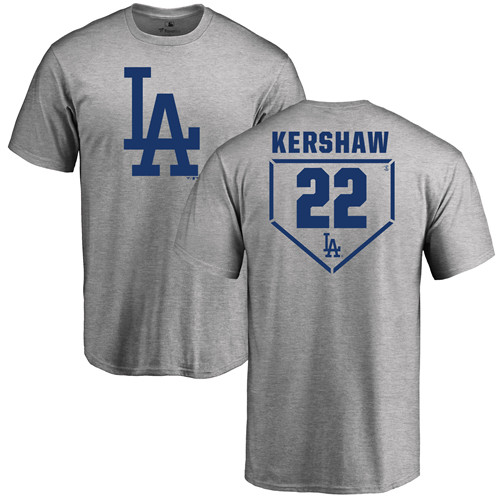 MLB Nike Los Angeles Dodgers #22 Clayton Kershaw Gray RBI T-Shirt