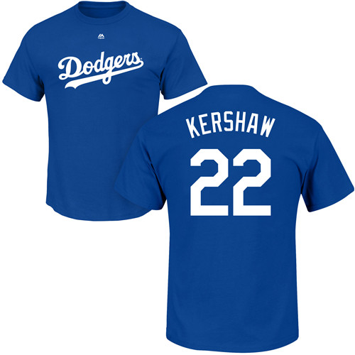 MLB Nike Los Angeles Dodgers #22 Clayton Kershaw Royal Blue Name & Number T-Shirt