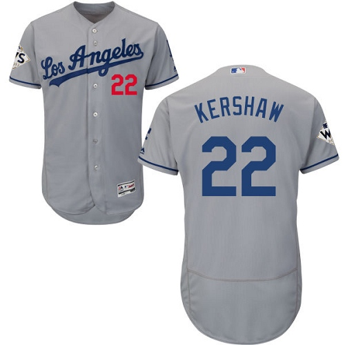 Men's Majestic Los Angeles Dodgers #22 Clayton Kershaw Authentic Grey Road 2017 World Series Bound Flex Base MLB Jersey