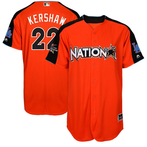 Men's Majestic Los Angeles Dodgers #22 Clayton Kershaw Authentic Orange National League 2017 MLB All-Star MLB Jersey
