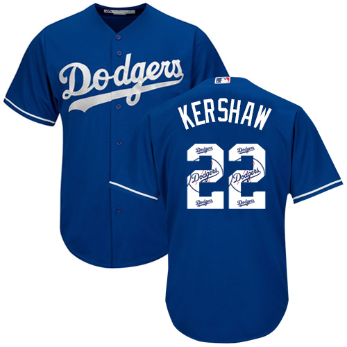 Men's Majestic Los Angeles Dodgers #22 Clayton Kershaw Authentic Royal Blue Team Logo Fashion Cool Base MLB Jersey